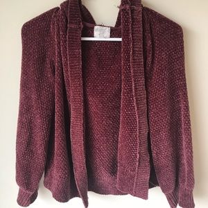 Hippie Rose Burgundy Knit Sweater with Hood